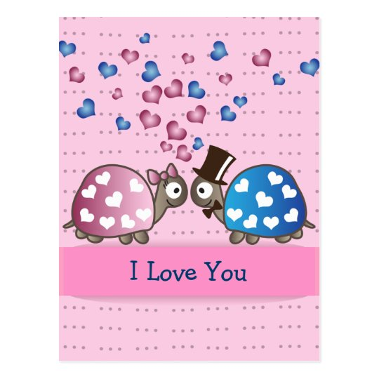 Cute Funny Valentines day Turtles in Love Postcard