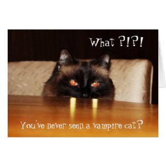 Cute, funny, vampire cat greeting card
