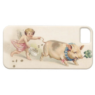 Cute Funny Vintage Pig and Angel Running Together iPhone 5 Cover