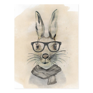 Cute funny watercolor bunny with glasses and scarf postcard