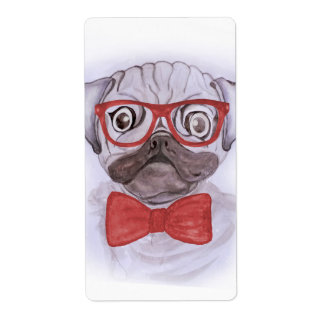 Cute funny watercolor pug with red glasses and bow shipping label