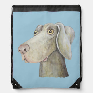 Cute, funny weimaraner painting drawstring bag
