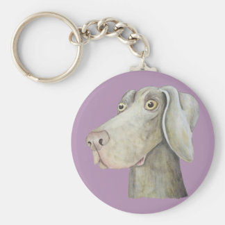 Cute, funny weimaraner painting key ring