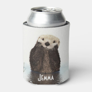 Cute Furry Otter In Water Can Cooler