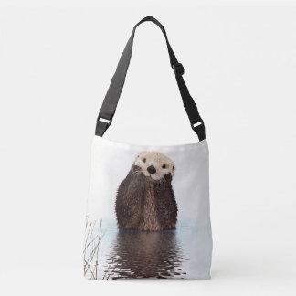 Cute Furry Otter In Water Crossbody Bag