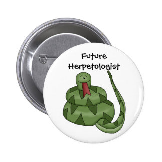 Cute Future Herpetologist Snake Lover Kids 6 Cm Round Badge