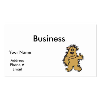 cute fuzzy bear pack of standard business cards