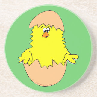 Cute Fuzzy Cartoon Easter Chick in Shell Coaster