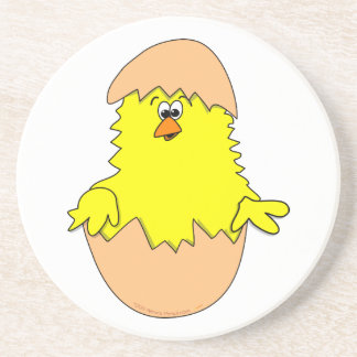 Cute Fuzzy Cartoon Easter Chick in Shell Drink Coaster