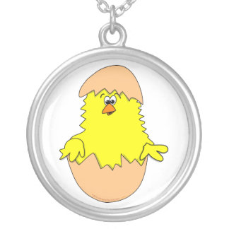 Cute Fuzzy Cartoon Easter Chick in Shell Custom Necklace