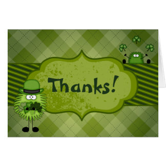 Cute Fuzzy Leprechauns and Clovers Irish Thank You Card