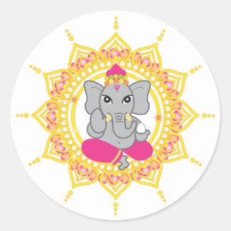 Cute Ganesha labels Round Sticker