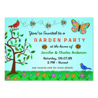 Cute Garden Party Whimsical Summer Flowers Bugs 13 Cm X 18 Cm Invitation Card