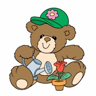 Cute Gardener Bear and Tulip Photo Sculpture