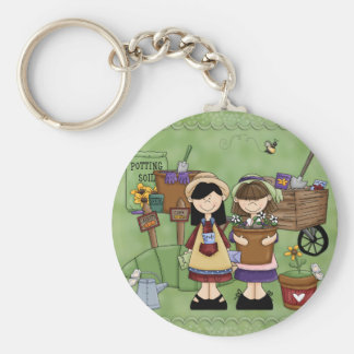 Cute Gardenscene with Girls & Flowers Basic Round Button Key Ring