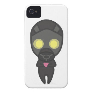 Cute Gas Mask Guy with Heart iPhone 4 Cover