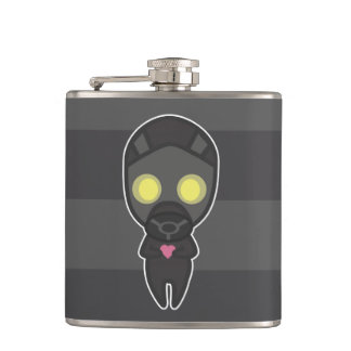 Cute Gas Mask Guy with Heart Hip Flask