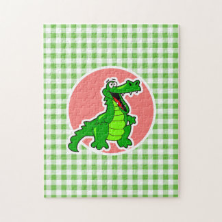 Cute Gator; Green Gingham Puzzles