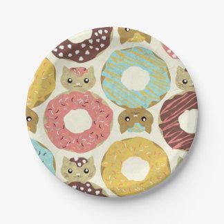 Cute gats Doughnut Paper Plates 7 in