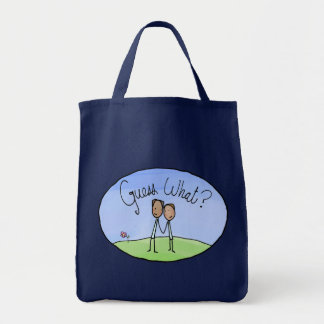 Cute Gay Couple Guess What Grocery Tote Bag