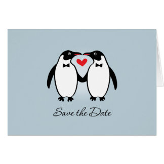 Cute Gay Penguins Wedding Save The Date Card