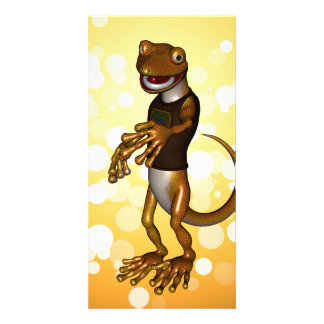 Cute gecko customised photo card