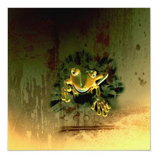 Cute gecko 13 cm x 13 cm square invitation card