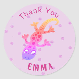 Cute Gecko Lizard Thank You Name Classic Round Sticker