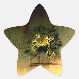 Cute gecko star sticker