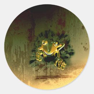 Cute gecko round sticker