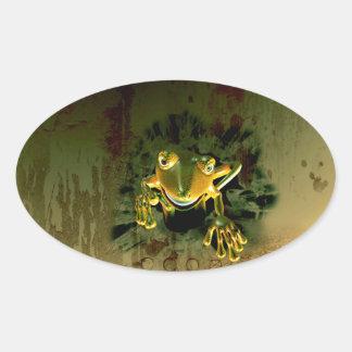 Cute gecko oval sticker