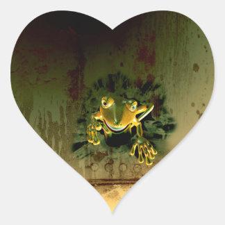 Cute gecko heart sticker