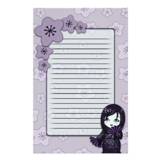 Cute Geisha Black And Purple Cherry Blossoms Lined Stationery