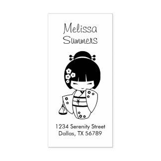 Cute Geisha Girl Address Rubber Stamp