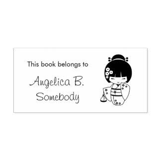 Cute Geisha Girl Bookplate Rubber Stamp
