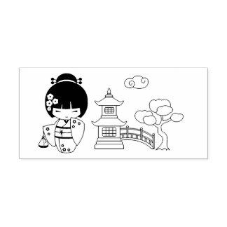 Cute Geisha Girl in Kimono Rubber Stamp