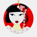 Cute Geisha with Flowers - Red Ornaments