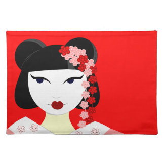 Cute Geisha with Flowers - Red Placemat