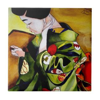 Cute Geisha with green kimono original art Small Square Tile