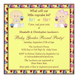 Cute Gender Reveal Babies, Cupcakes & Cherries Invitation