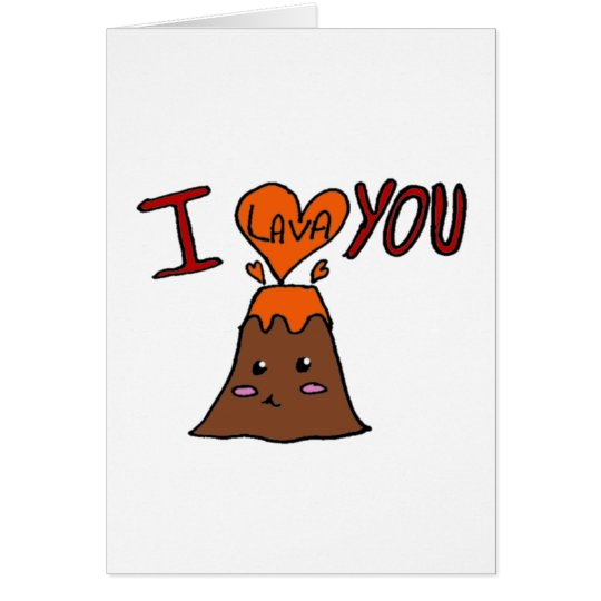 Cute geology volcano love card