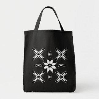 Cute geometric design black and white grocery tote bag