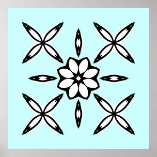 Cute geometric design on light blue poster