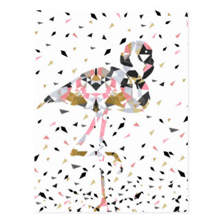 Cute geometric Flamingo abstract design Postcard