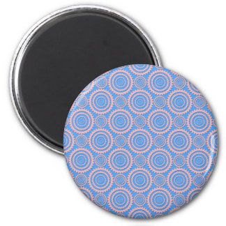 Cute Geometric Pattern Pink Circles over Blue Refrigerator Magnets