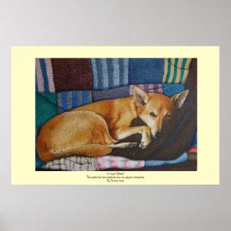cute german shephard dog cross pet portrait art poster