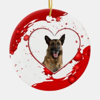Cute German Shepherd Dog inside Red Heart Round Ceramic Decoration