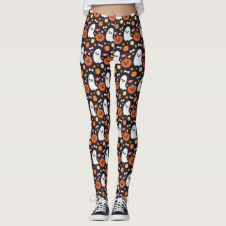 Cute Ghost, Pumpkin & Candy Halloween Pattern Leggings
