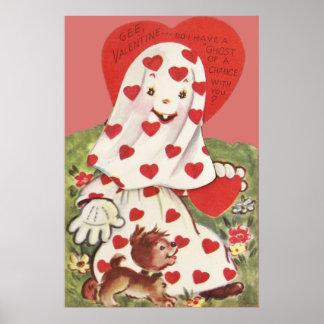Cute Ghost Puppy Dog Heart Valentine Poster