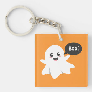 Cute Ghost that Goes Boo, Happy Halloween Double-Sided Square Acrylic Key Ring